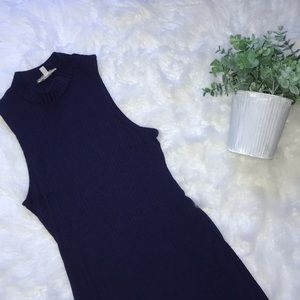 Navy turtleneck tank dress midi